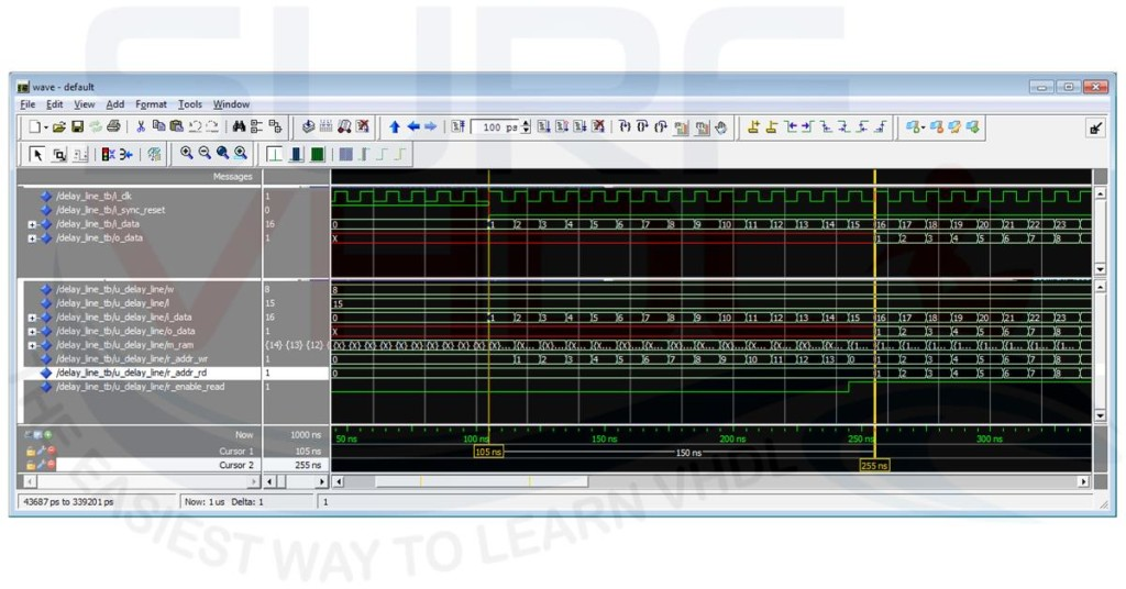 Modelsim simulation for VHDL code of Digital Delay Line with delay = 15